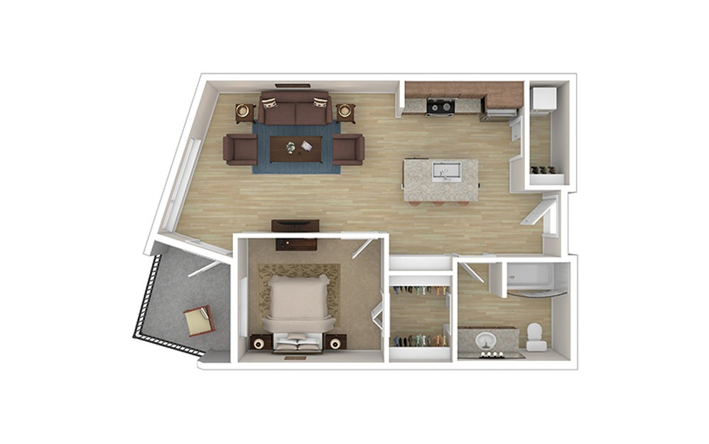 ONE A  – Income Limited - 1 bedroom floorplan layout with 1 bath and 693 square feet.