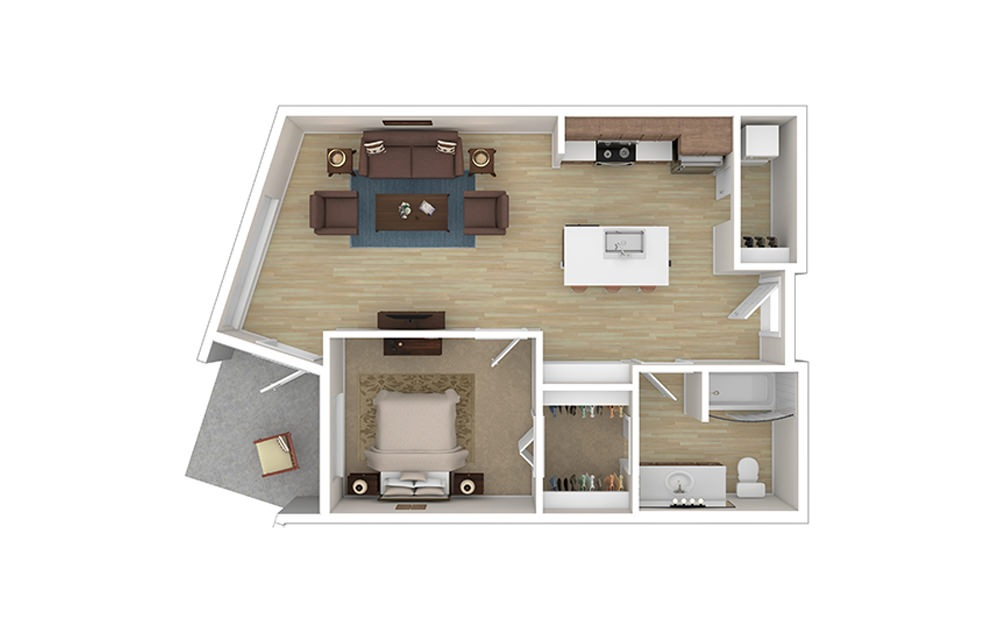 ONE B - 1 bedroom floorplan layout with 1 bath and 756 to 766 square feet.