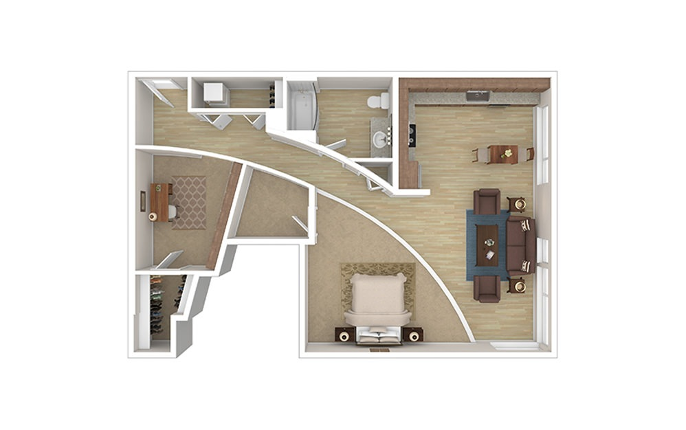 ONE C - 1 bedroom floorplan layout with 1 bath and 625 square feet.