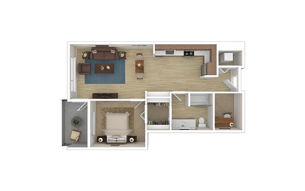 ONE DEN A* - 1 bedroom floorplan layout with 1 bath and 751 square feet.