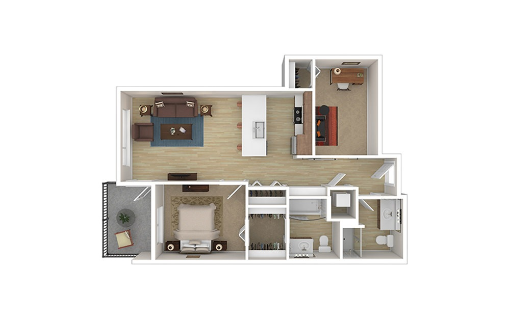 ONE DEN B - 1 bedroom floorplan layout with 2 baths and 814 to 907 square feet.