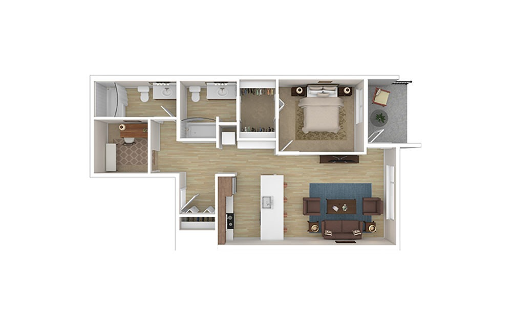 ONE DEN C - 1 bedroom floorplan layout with 2 baths and 828 to 856 square feet.
