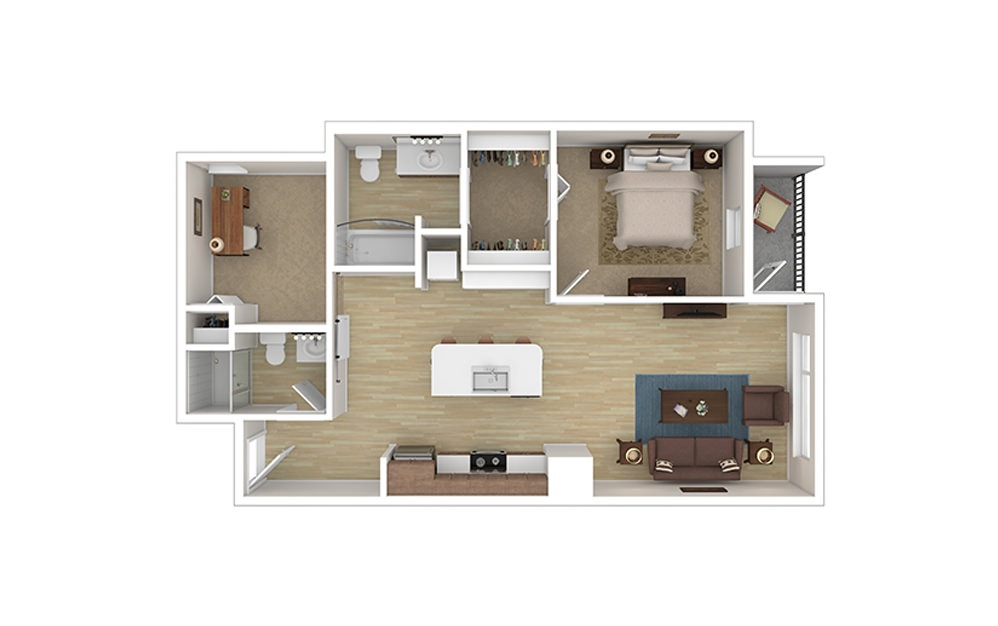 ONE DEN D - 1 bedroom floorplan layout with 2 baths and 841 to 859 square feet.