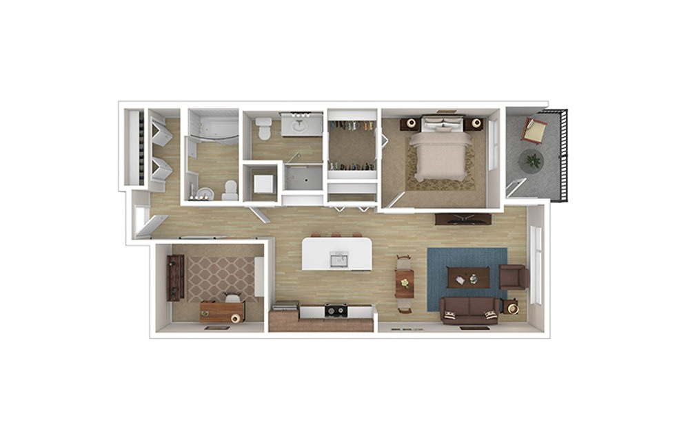 ONE DEN E - 1 bedroom floorplan layout with 2 baths and 903 to 928 square feet.
