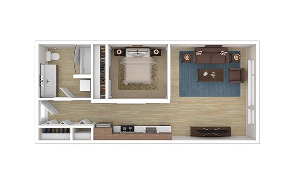 OPEN ONE A - Studio floorplan layout with 1 bath and 602 to 628 square feet.