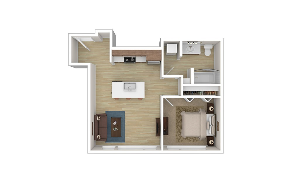 OPEN ONE B – Income Limited - 1 bedroom floorplan layout with 1 bath and 590 to 595 square feet.