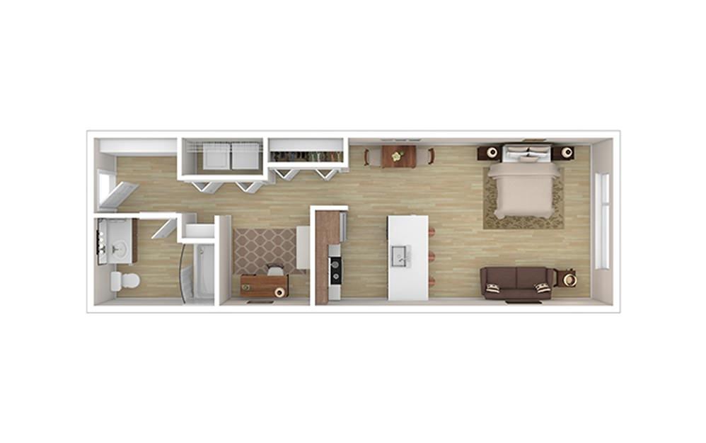 STUDIO A* - Studio floorplan layout with 1 bath and 617 square feet.