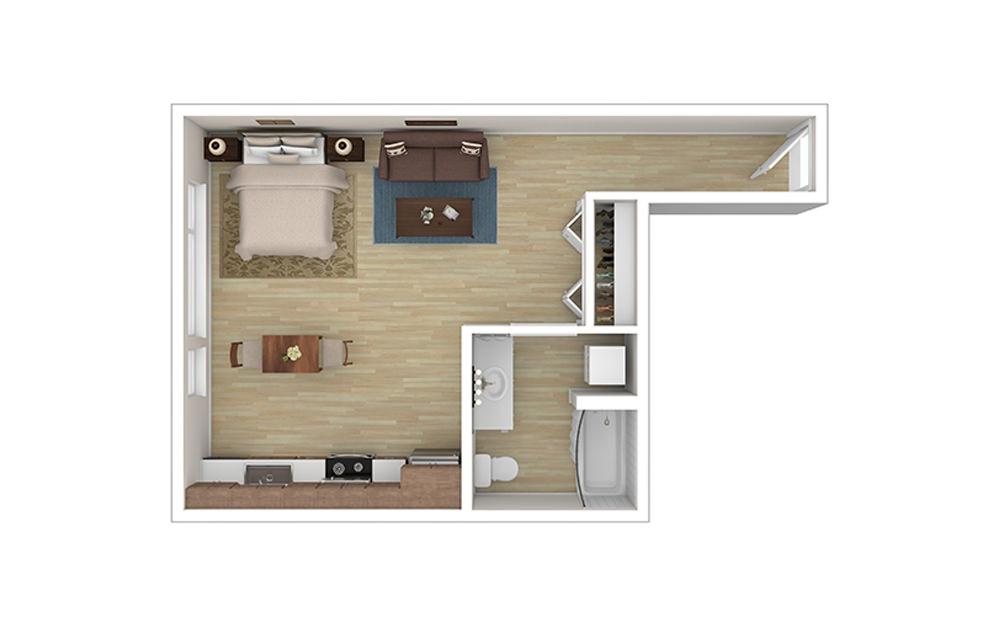STUDIO B - Studio floorplan layout with 1 bath and 497 square feet.