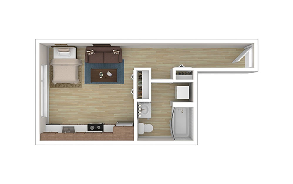 STUDIO C – Income Limited - Studio floorplan layout with 1 bath and 378 square feet.