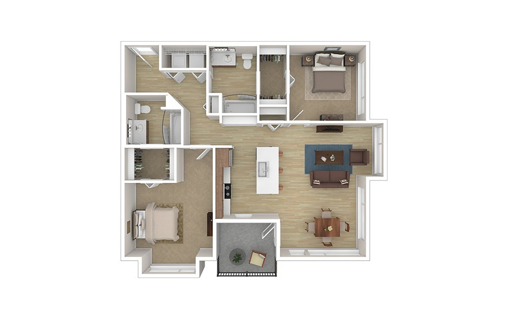 TWO A - 2 bedroom floorplan layout with 2 baths and 1129 to 1148 square feet.