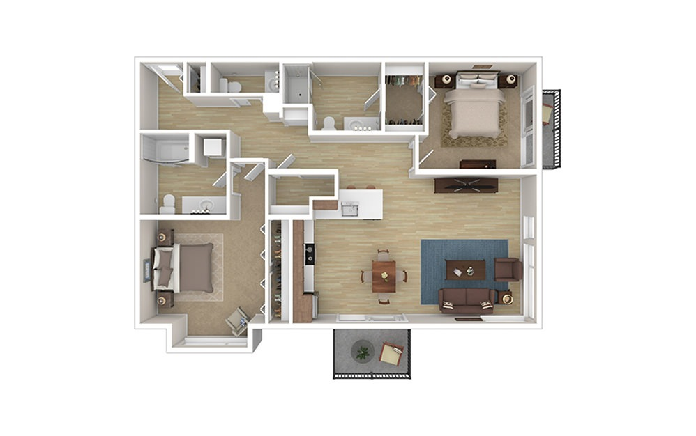 TWO B - 2 bedroom floorplan layout with 2.5 baths and 1137 to 1164 square feet.