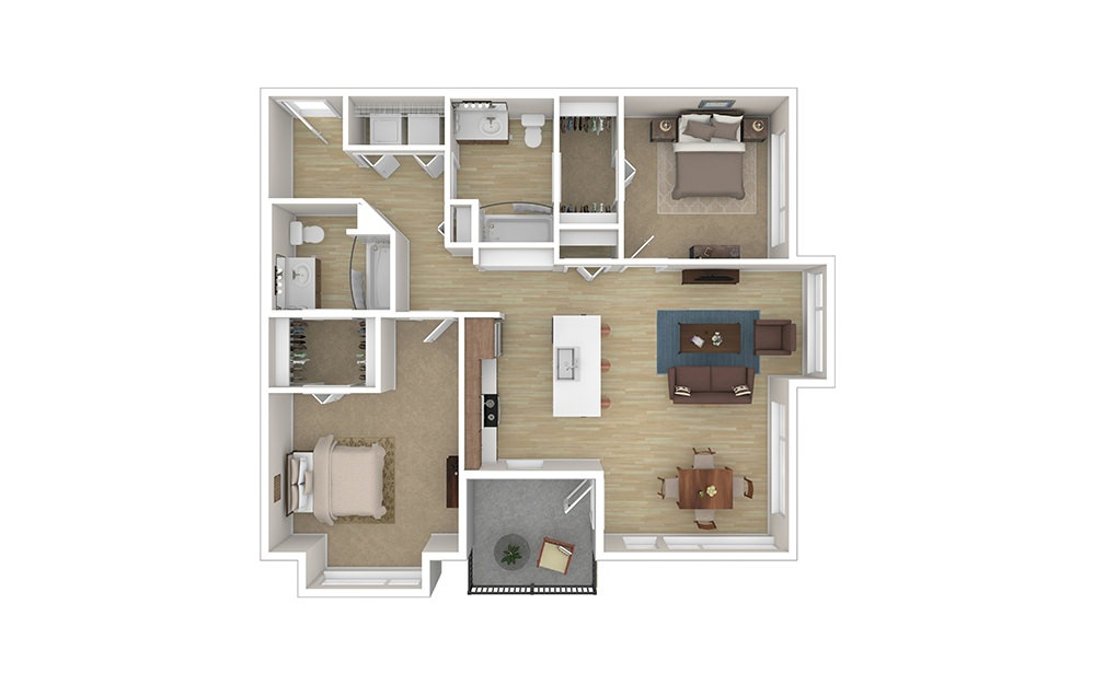 TWO B  – Income Limited - 2 bedroom floorplan layout with 2 baths and 1096 square feet.